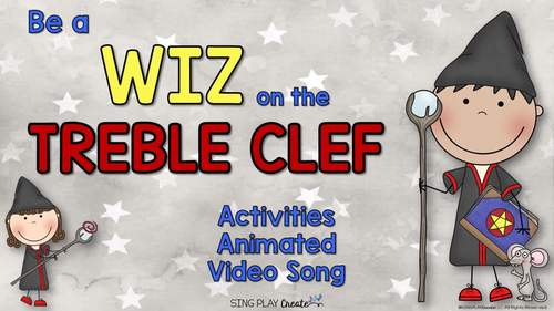 """Treble Clef Song, Lessons, Games """"Be a Wiz on the Treble Clef"""" VIDEO, Mp3, Ppt"""