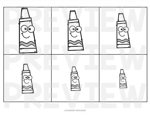 Crayons Size Ordering (From Smallest to Largest)
