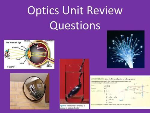 Optics Unit Review Questions - The Behaviour of Light
