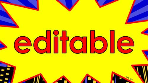 Editable Slideshow to Practice Sight Words, Math Facts..., Superheroes