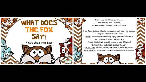 What Does The Fox Say?  A CVC Word Creation!