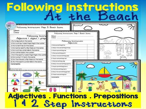 Following 1-2 step Instructions using a beach theme