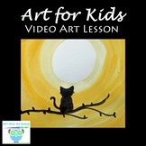Video Art Lesson: Watercolor Painting a Moon Cat Silhouette