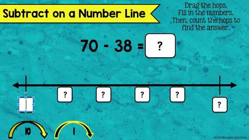 2 Digit Subtraction on a Number Line for the Google Classroom