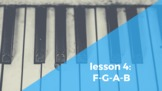 Piano Lesson 4: F-G-A-B on the piano.