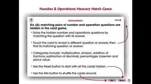 Number & Operations: Memory Match Game - NOTEBOOK Gr. 3-5