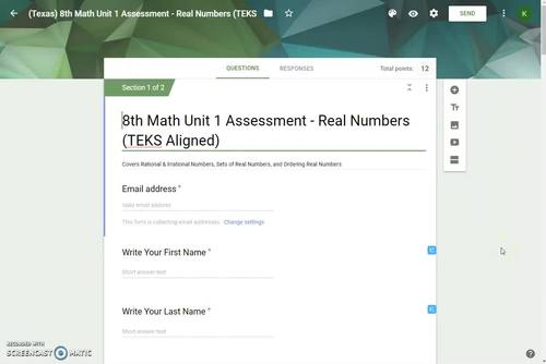 8th Math Unit 1 Google Quiz - The Real Numbers
