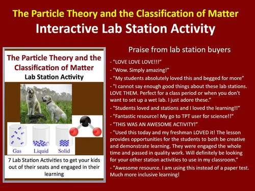 The Particle Theory and the Classification of Matter  - 7 Lab Station Activities