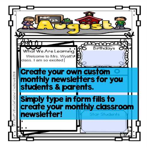 Editable Classroom Monthly Newsletter Templates
