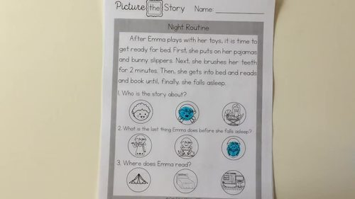 Reading Comprehension with Picture Choices! No Prep Worksheets