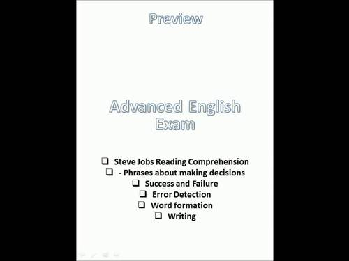 Advanced English Exam: Steve Jobs reading; Phrases of Making Decisions. ESL/EFL