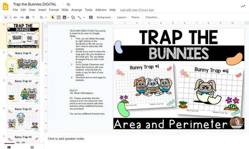 Trap the Easter Bunny- Easter Area and Perimeter Activity for Google Classroom