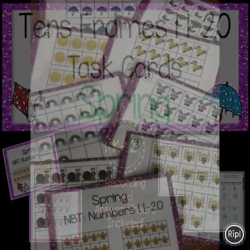 Tens Frames - Numbers to 20 ~ Spring Math Center ~ Task Cards