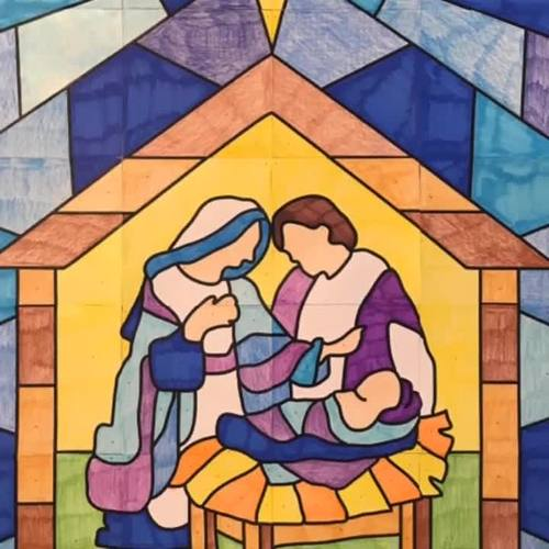 """""""Stained Glass"""" Christmas Nativity Scene Collaboration Poster"""