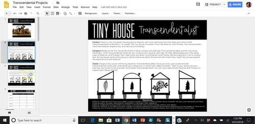 Transcendentalism Projects for Ralph Waldo Emerson & Henry David Thoreau