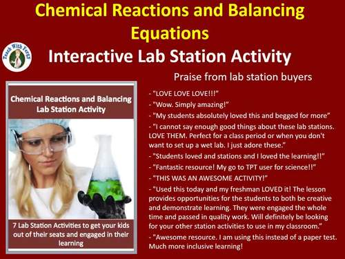 Chemical Reactions and Balancing Equations - 7 Engaging Lab Station Activities