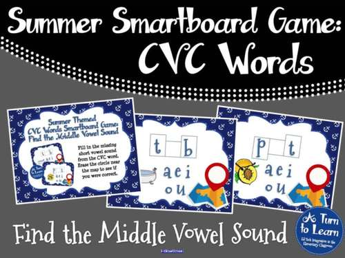 Summer Smartboard Game: Find the CVC Short Vowel (Smartboard/Promethean Board)