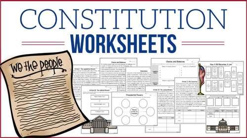 Constitution Worksheets - Constitution Workbook