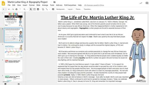 DIGITAL Hyperdocs Martin Luther King Jr. Activity (Google Classroom Ready)