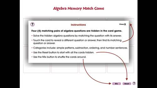 Algebra: Memory Match Game - PC Gr. PK-2