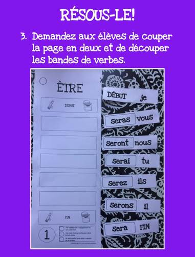 French futur simple verbs cut and paste- 30 verbes français à découper et coller