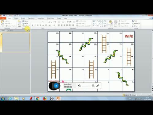 Interactive Snakes and Ladders Board (PowerPoint Game)