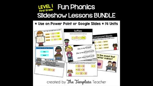 First Grade Phonics Slideshow Lessons Bundle