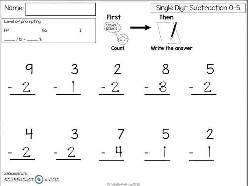Touch Point: Single Digit Subtraction (Touch Math)