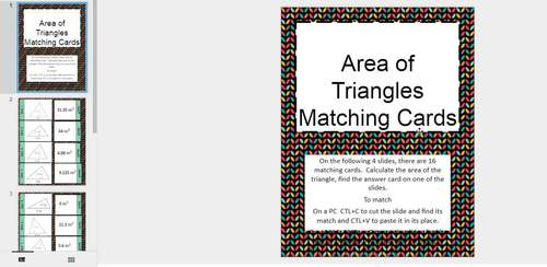 Area of Triangles Matching Card Google Activity Plus Quiz