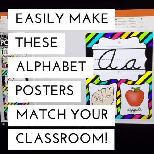 Editable CURSIVE Alphabet Posters with American Sign Language {Neon}