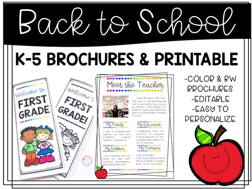back to school brochures printable editable by happy days in