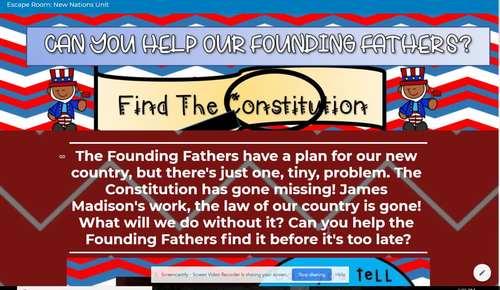 Escape Room: Find the Constitution VS 6 & VS 10 Perfect for New Nations Unit VA