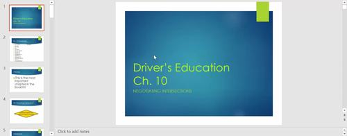 """Driver's Education Ch. 9 """"Natural Laws and Car Control"""" Power Point"""