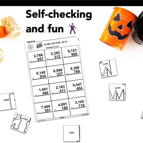 Halloween Math | 4th-5th | Paperless + Printable Secret Picture Tiles SET