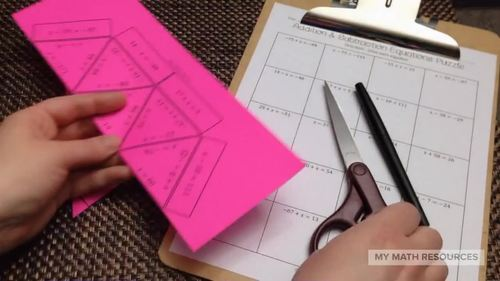 Solving Addition and Subtraction Equations Puzzle (with Integers)