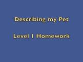 BSL Level 1 DESCRIBING MY PET HOMEWORK