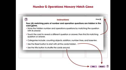 Number & Operations: Memory Match Game - PC Gr. PK-2