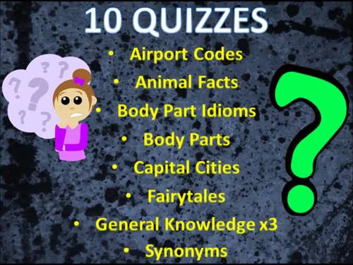 Bundle of 10 Interactive Quizzes inc. General Knowledge, Idioms & Fairytales
