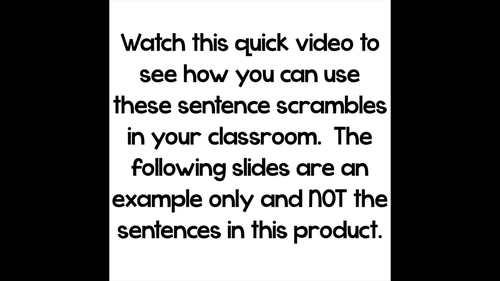 Monthly Sentence Scrambles