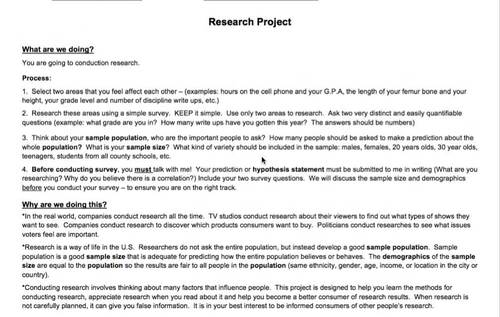 Statistical Research Project and Paper - Let Students Choose the Topic