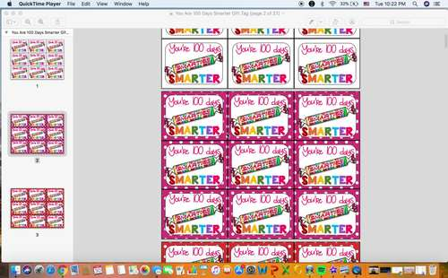 Printable You're 100 Days Smarter Smarties Gift Tag