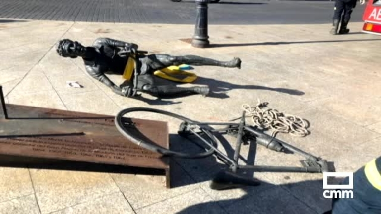 Destrozada la escultura de bronce que homenajea a Bahamontes en Toledo