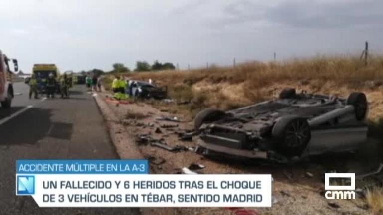 Un muerto y seis heridos, entre ellos un bebé, en un accidente múltiple en Tébar (Cuenca)