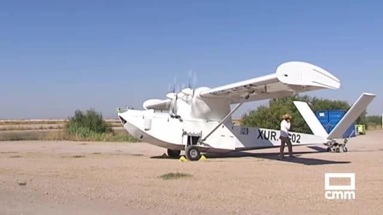 Prueban en Quero (Toledo) un dron que funciona como hidroavión