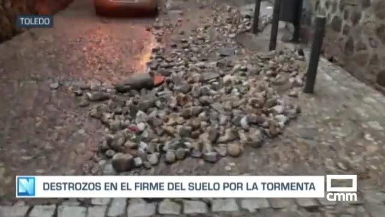 Lo efectos de la tormenta en Toledo: se desborda un arroyo en Azucaica y hay calles cortadas