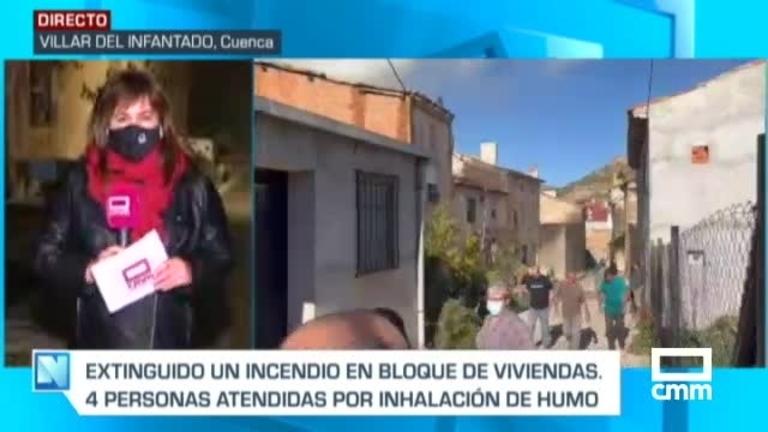 Tres afectados por inhalación de humo durante el fuego en un edificio en Villar del Infantado (Cuenca)