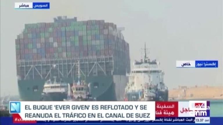 Se reanuda el tráfico marítimo en el Canal de Suez