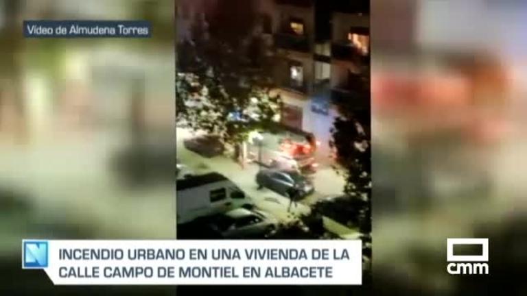Un incendio en un bloque de viviendas de Albacete causa quemaduras a una persona y destruye un piso